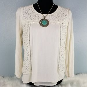 Stitch Fix Skies are Blue Crochet Lace Top Sz Med